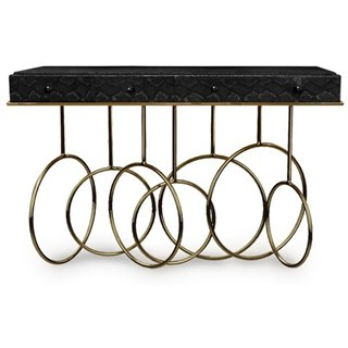 Luxury black cobra lamb skin and brass console table