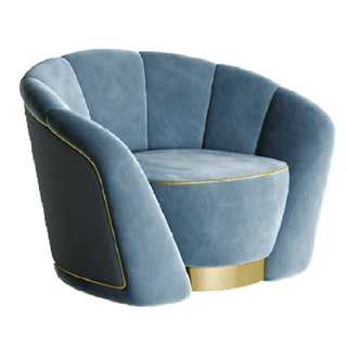 Candy Velvet Armchair with Curved Metal Plinth