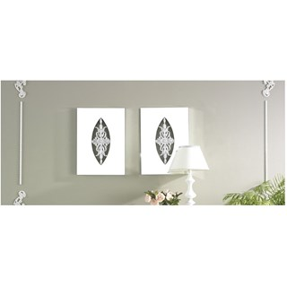 Carved Diamond Silver Leaf Rectangle Mirror