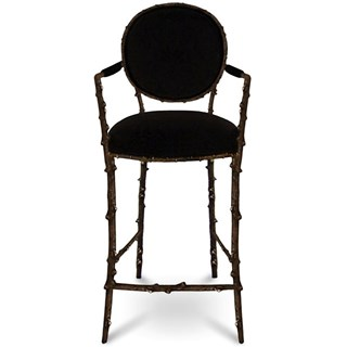 Cast Antique Metal Black Plush Bar Stool