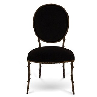 Cast Antique Metal Black Plush Dining Chair