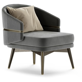 Chairsio Luxury Armchair with Brushed Brass Trim & Round Backrest | Touched Interiors