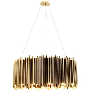 Chamber Gold Plated Brass Round Suspension Lamp