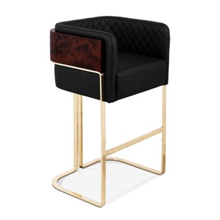 Chapman Walnut, Velvet & Leather Upholstered Bar Stool