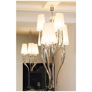 Chromed Brass 6 Light Italian Chandelier