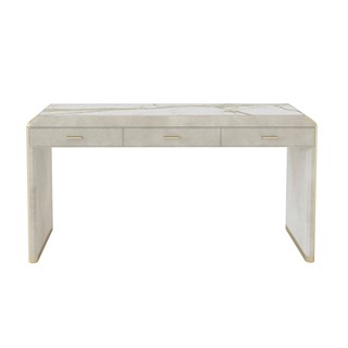 Upholstered Leather Claudette Console Table | Touched Interiors