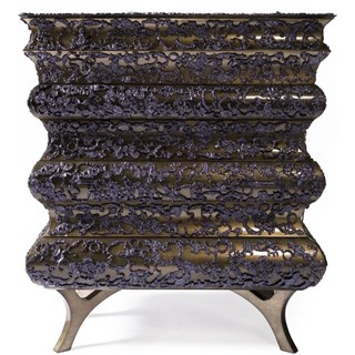 Luxury purple and gold leaf chest of drawers