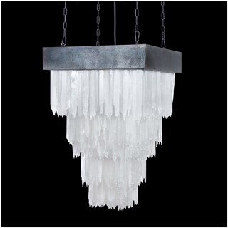 Crystal Large Selenite Stone Square Chandelier