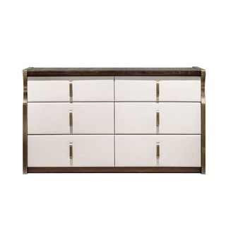 Upholstered Leather Italian Daza Chest Of Drawers | Touched Interiors