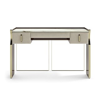 Upholstered Leather Italian Daza Console Table | Touched Interiors