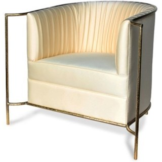 Luxury hammered matte gold and pearl fabric chair