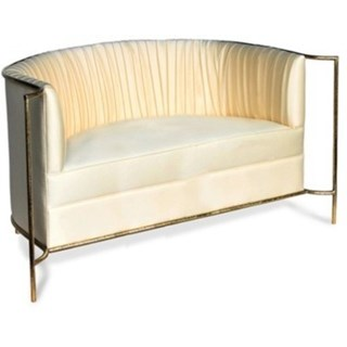 Luxury hammered matte gold and pearl fabric sofa