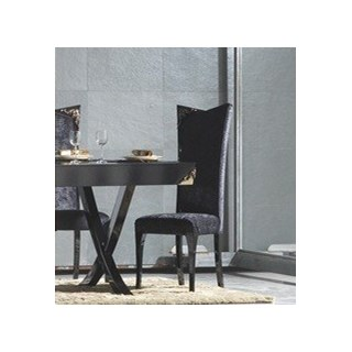 Luxury Black Gloss Dining Chair With Antique Gold Leaf Carving