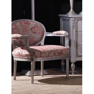 Distressed silver and pink floral armchair