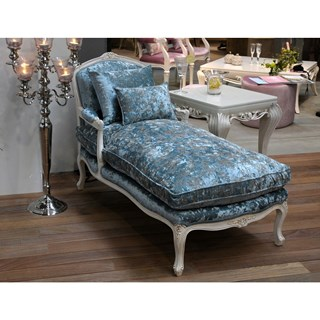 Duck egg blue crushed velvet chaise longue
