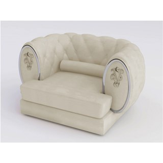 Empire Chrome Upholstered Button Tufted Italian Armchair