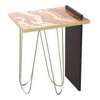 Brushed Brass & Marble Esme Side Table | Touched Interiors