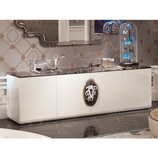 Frappuccino Italian Marble & Lacquered Low Sideboard