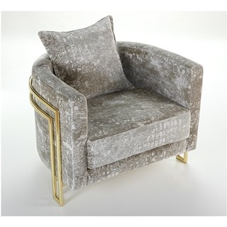 Freedom Upholstered Round Seductive Brass Armchair
