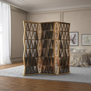 Germain Polished Brass, Smoked & Translucent Glass Folding Screen