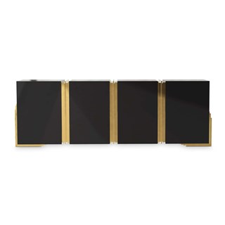 Polished Brass, Black Lacquer Giza Sideboard | Touched Interiors