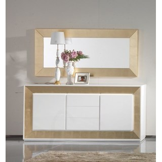 Luxury 198 cm white gloss and gold leaf sideboard