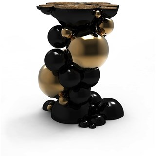 Gold Plated and High Gloss Black Bubbles Side Table