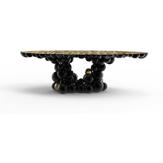 Gold Plated and High Gloss Black Bubbles Dining Table