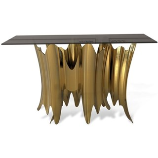 Gold Plated Aurous Glass Top Console