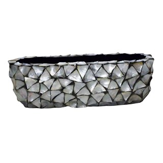 Gosrottie Silver Mother Of Pearl Rectangular Seashell Bowl
