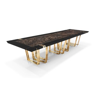 Grand Lobo Emperador Marble Dining Table | Touched Interiors