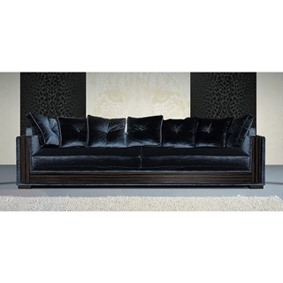 Grand Arianna Upholstered L Sofa With Ebony Wood