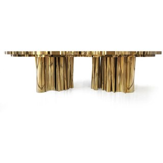 Grand Brass Wave Dining Table
