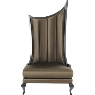 Grand Curved Panel Upholstered Champagne Chair