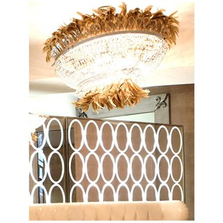 Grande Feather Italian Crystal Oval Chandelier