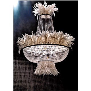 Grande Feather Italian Crystal Round Chandelier