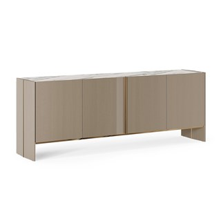 Harpa Modern Sideboard With Oak Veneer & Brass Details | Touched Interiors