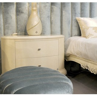 High gloss Swarovski cream bedside table with 2 drawers