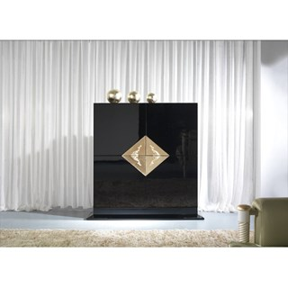 High Gloss Black and Gold Leaf Carved Detailed Large Bar Cabinet
