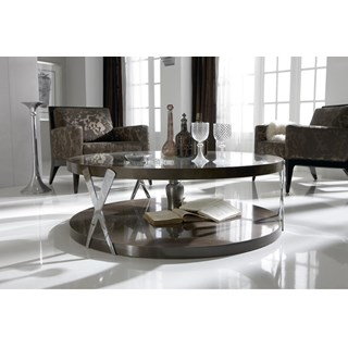 Ex-Display High Gloss Stainless Steel Round Coffee Table