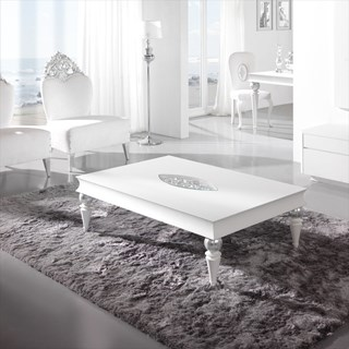 High Gloss White and Silver Leaf Carved Detailed Sylphlike Coffee Table