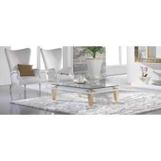 High Gloss White & Gold Leaf Carved Square Coffee Table With Glass Top