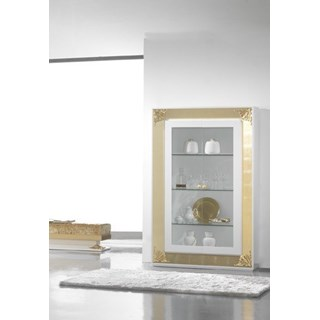 High Gloss White Lacquer Carved Gold Leaf Display Cabinet With 3 Glass Shelves