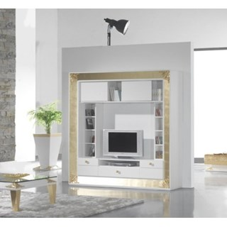 High Gloss White Lacquer Carved Gold Leaf Media Unit With Drawers
