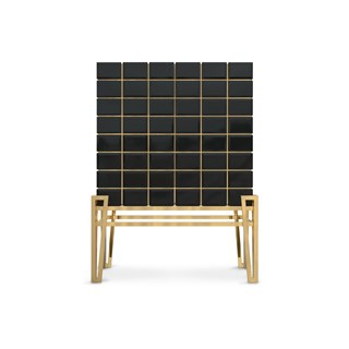 Hive Black Lacquer & Golden Brass Luxury Bar Cabinet | Touched Interiors
