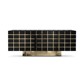 Hive Black Lacquer & Golden Brass Luxury Sideboard | Touched Interiors