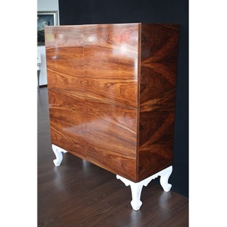 Carved High Gloss Brushed Walnut Bar Cabinet