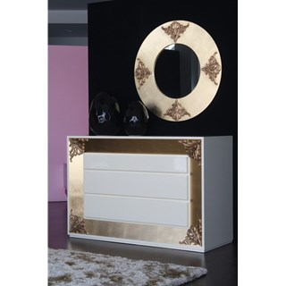 Designer round gold leaf and carving mirror