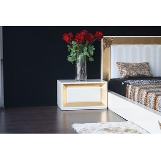 Designer high gloss white and gold leaf bedside table