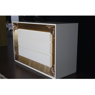 Designer High gloss white chest of drawers with gold leaf carving